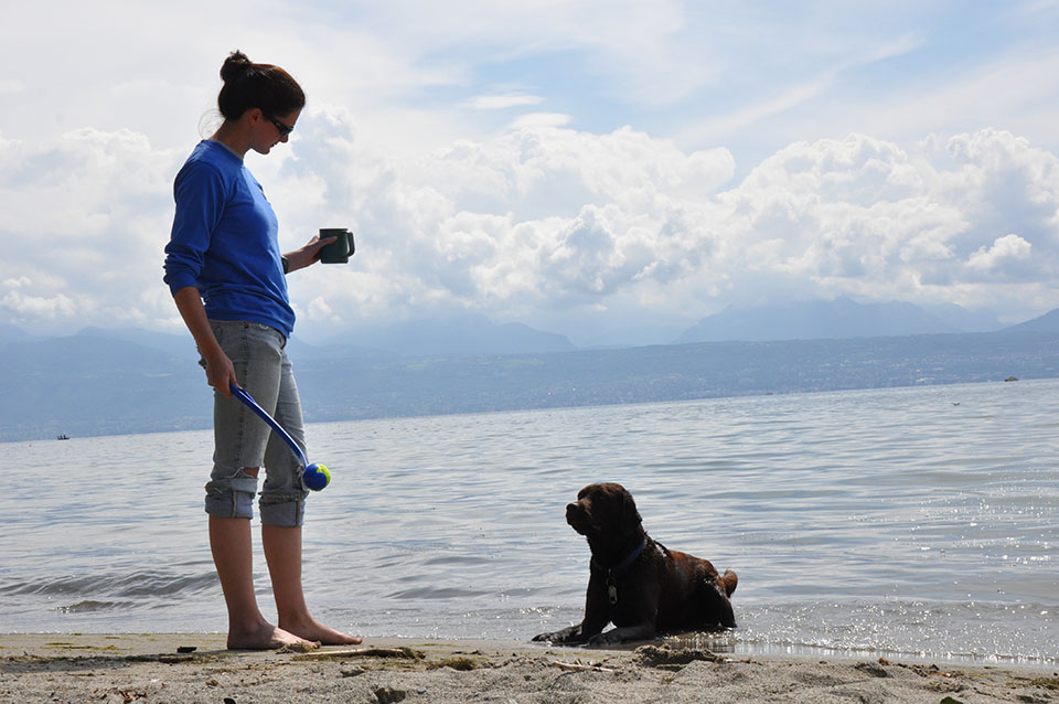 Blue and Julia at a lake in Switzerland