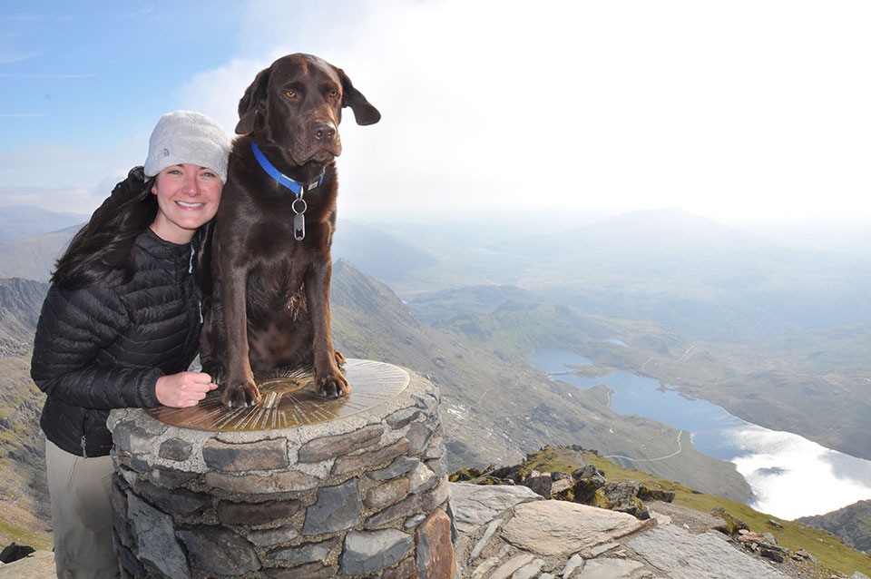 Julia & Blue at the top of Snowdon in North Wales